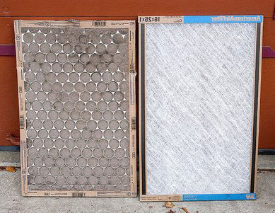 dirty furnace filter and a clean one